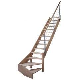 Escalier 1/4 tournant bas rampe lisse métal