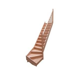 Escalier 1/4 tournant bas hêtre rampe à fuseaux bois