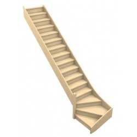 Un escalier quart tournant bois confortable