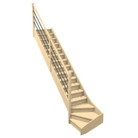 quart tournant bois rampe 3 lisses métal