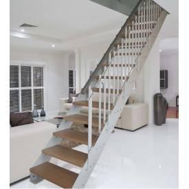 Escalier droit métal bois