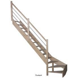 escalier hêtre + poteau bois + rampe  à lisses métal