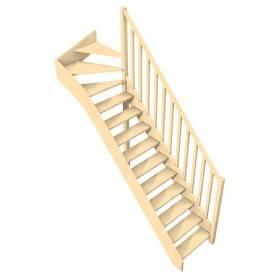 Escalier 1/4 tournant haut en sapin