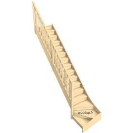 Escalier 1/4 tournant bas hêtre avec rampe