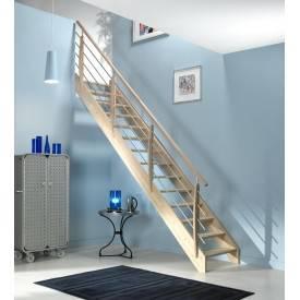 Escalier droit hêtre + rampe poteaux bois lisses alu
