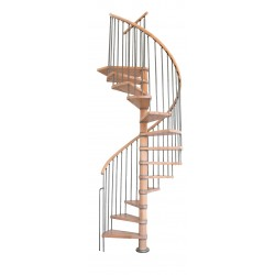Escalier hélicoïdal en hêtre rampe métal