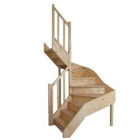 Escalier sapin double 1/4 tournant