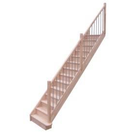 Escalier droit hêtre rampe métal