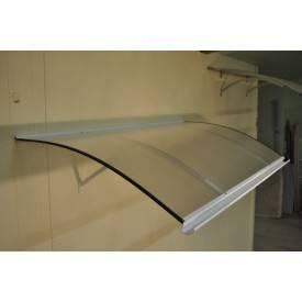 Marquise/auvent plongeante en profilé aluminium et plaque de polycarbonate