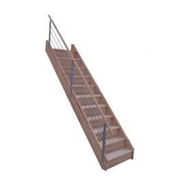 Escalier droit chêne rampe à câble