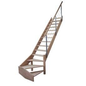 Escalier 1/4 tournant bas hêtre  avec rampe à câbles