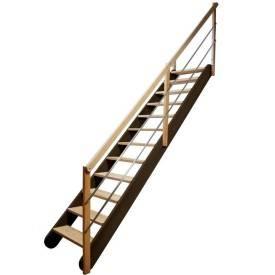 Escalier droit ajustable en hêtre