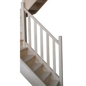 Escalier double 1/4 tournant en hêtre