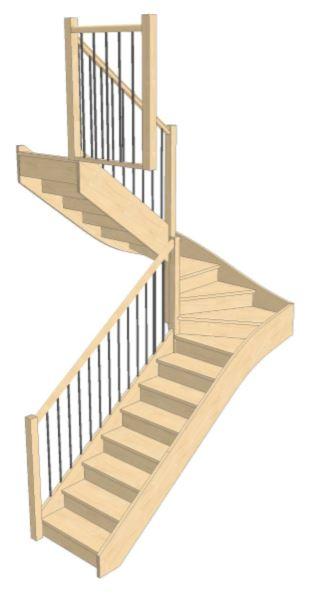 Escalier Double QT Garde corps étage