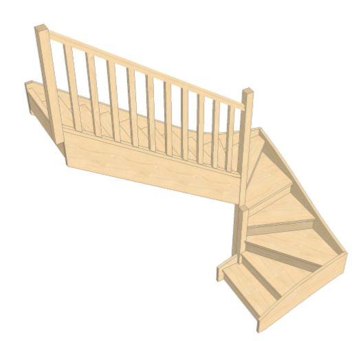 Escalier Double QT avec contremarches